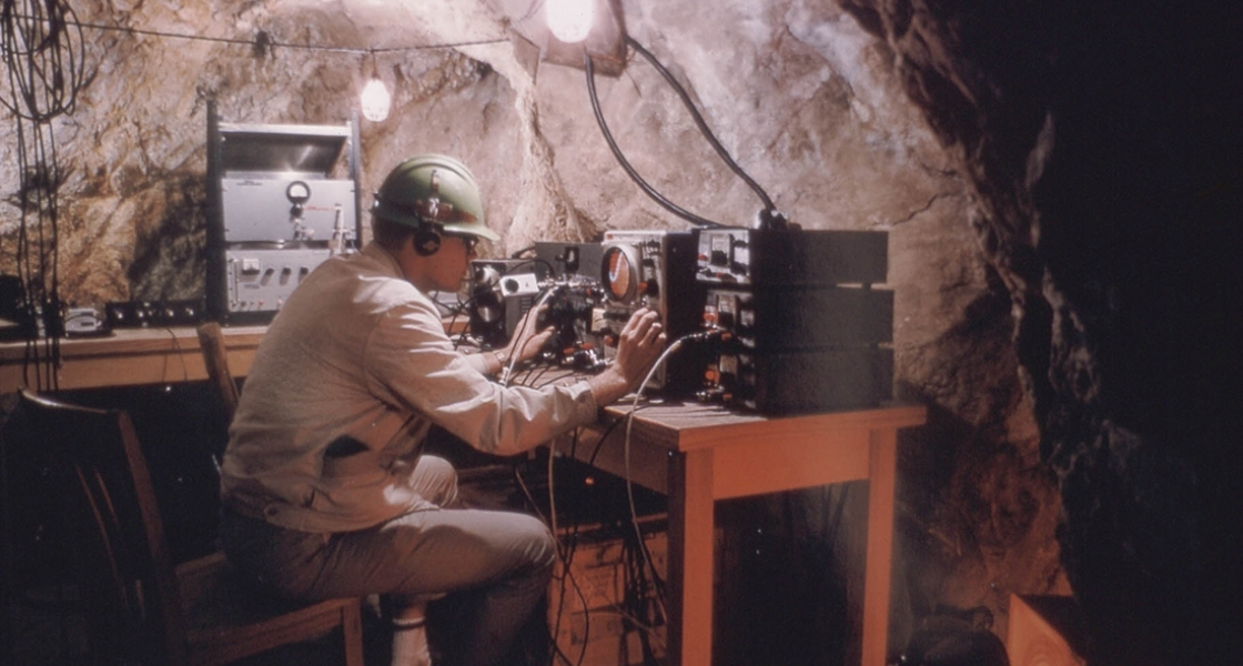 Photograph of Poorman Relief mine experiment, circa 1962.