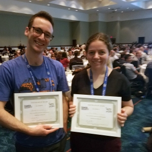 JILA Graduate Students Julia Cline and William Cairncross.