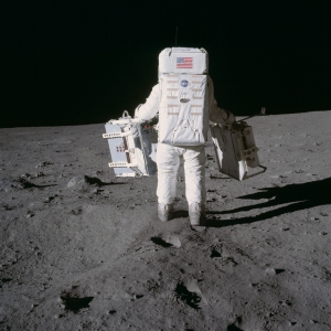 Buzz Aldrin carrying Laser Ranging Retroreflector on the moon July 20 1969