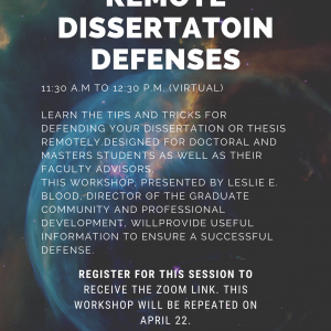 Poster of the remote dissertation defenses for january 29th