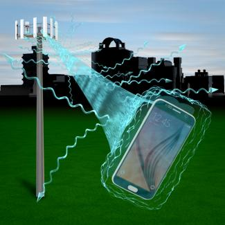 Artist's concept of the distortions that can occur when a cell phone communicates with a cell phone tower.