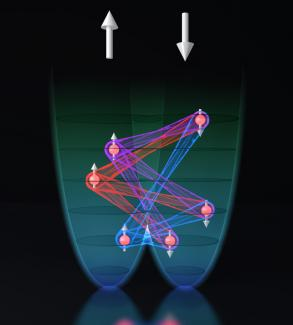 Image illustrating the simultaneously changing the direction of atoms spins.