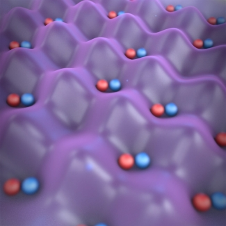 Artist's conception of ultracold potassium-rubidium (KRb) molecules pinned in individual optical lattice sites.