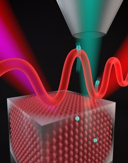 High harmonics of a femtosecond laser kick electrons out of a nickel crystal lattice.