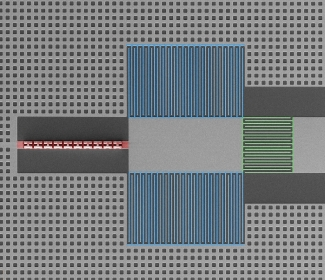 Scanning-electron microscope image of the circuit used in searches for axions.