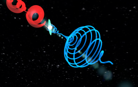 Two time-delayed infrared vortex laser pulses (upper-left) impinge on a gas target to generate coherent, extreme ultraviolet light with a time-dependent orbital angular momentum (right); the self-torque of light.
